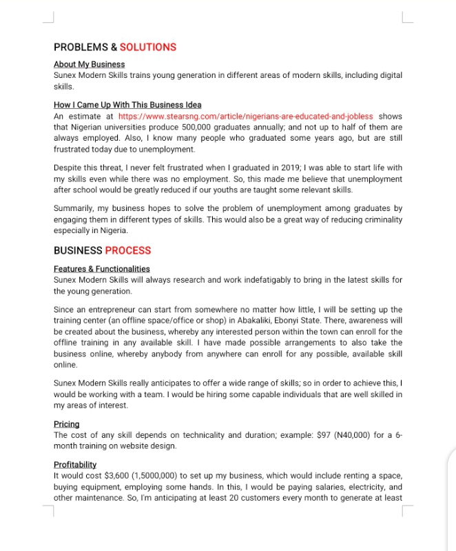 Example of business plan executive summary